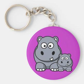 Porte-clés Famille d'hippopotame de bébé, safari sauvage