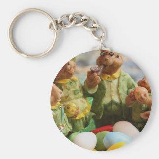 Porte-clés Famille et oeufs de lapin de Pâques