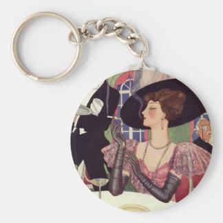 Porte-clés Femme vintage buvant la cigarette de tabagisme de