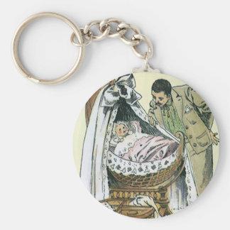 Porte-clés Fête des pères heureuse vintage, berceau victorien