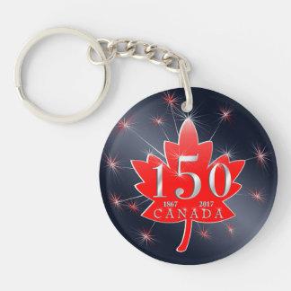 Porte-clés Feuille d'érable du Canada 150 et feux d'artifice