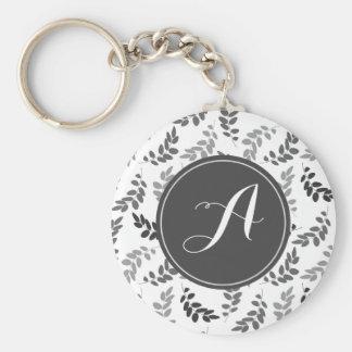 Porte-clés Feuille gris et blanc avec le monogramme fait sur
