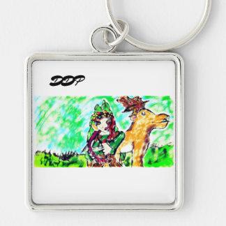 Porte-clés fille et cerfs communs