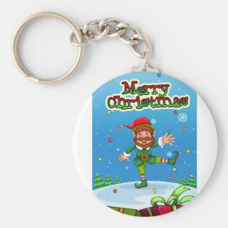 Porte-clés Flashcard de Noël avec Père Noël et des ornements