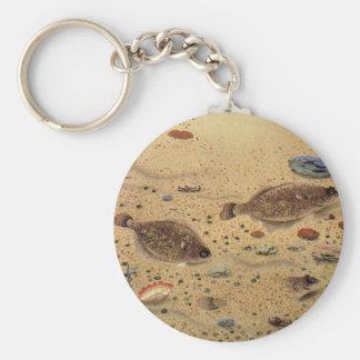Porte-clés Flets vintages de poissons plats, la vie marine