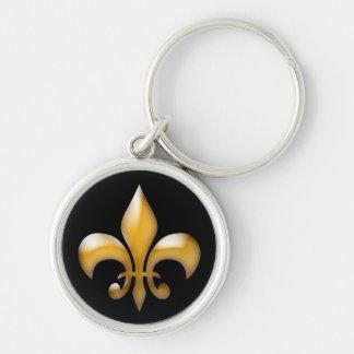 Porte-clés Fleur de Lis Keychain dans l'or et le noir
