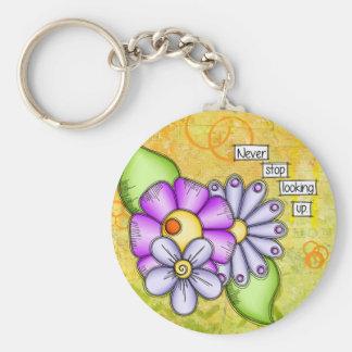 Porte-clés Fleur positive de griffonnage de pensée de plaisir