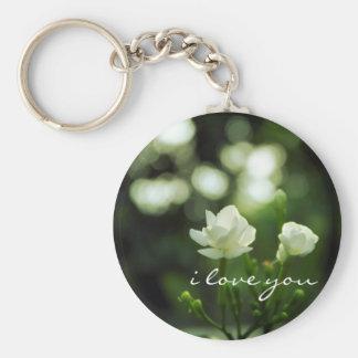 Porte-clés Fleur romantique de bokeh je t'aime