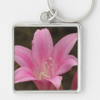 Porte-clés Fleur rose de lis