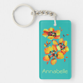Porte-clés Fleurs oranges lumineuses - Aqua