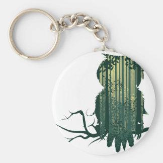 Porte-clés Forêt Landscape2 de hibou et de résumé