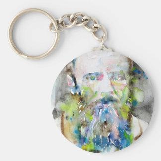 Porte-clés fyodor dostoevsky - portrait d'aquarelle