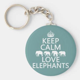 Porte-clés Gardez le calme et aimez les éléphants (les