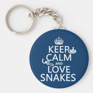 Porte-clés Gardez le calme et aimez les serpents (toutes les