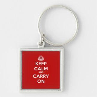 Porte-clés Gardez le calme et continuez le porte - clé carré