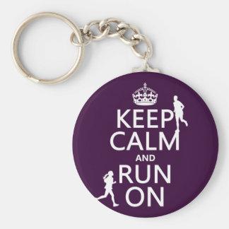 Porte-clés Gardez le calme et courez sur (les couleurs
