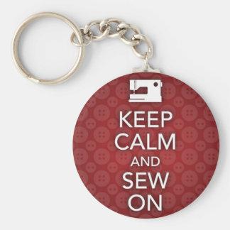 Porte-clés Gardez le calme et cousez sur le porte - clé rouge