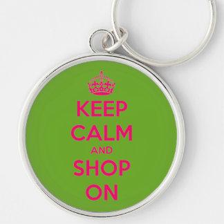 Porte-clés Gardez le calme et faites des emplettes sur le
