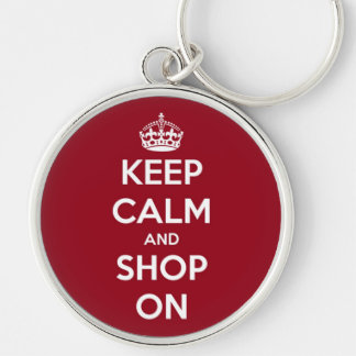 Porte-clés Gardez le calme et faites des emplettes sur rouge