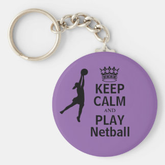 Porte-clés Gardez le calme et la conception de net-ball de