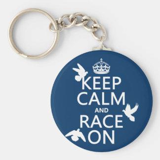 Porte-clés Gardez le calme et la course sur (pigeons) (toutes