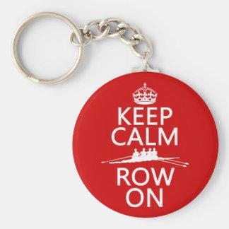 Porte-clés Gardez le calme et la rangée sur (choisissez