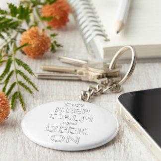 Porte-clés Gardez le calme et le geek dessus