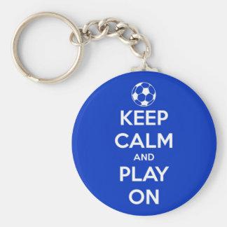 Porte-clés Gardez le calme et le jeu sur le bleu