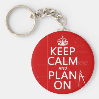 Porte-clés Gardez le calme et le plan sur (dans toute