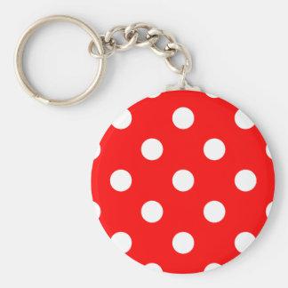 Porte-clés Grand pois - blanc sur le rouge