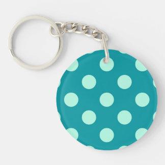 Porte-clés Grands rétros points - aqua et turquoise