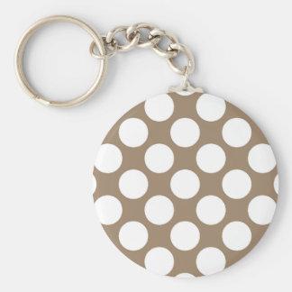 Porte-clés Grands rétros points - blanc et taupe bronzages