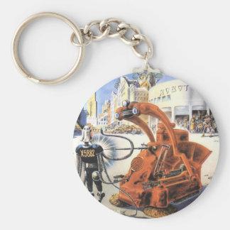 Porte-clés Guerres futuristes vintages d'alien de ville de la