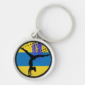 Porte-clés Gymnaste bleu d'art abstrait d'or