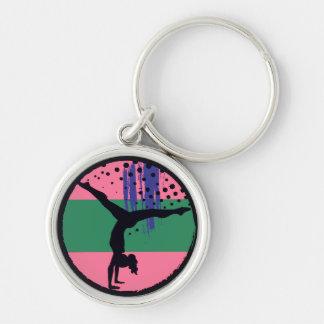 Porte-clés Gymnaste vert rose d'art abstrait