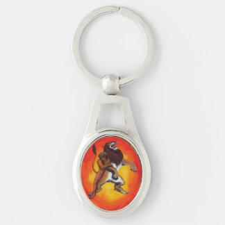 Porte-clés herkules audacieux d'homme combattant un lion