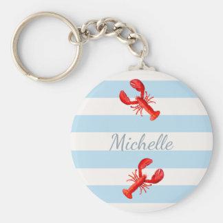 Porte-clés Homards nautiques blancs bleus de rouge de rayures