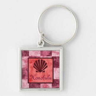 Porte-clés Honolulu rose de Shell de mer, rouge, et pourpre