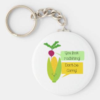 Porte-clés Humour végétal drôle de radis et de maïs