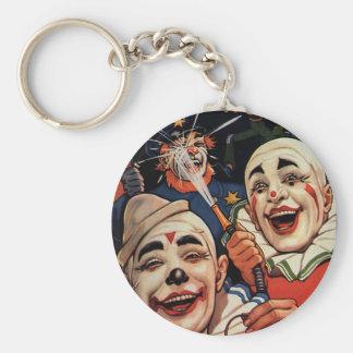 Porte-clés Humour vintage, clowns de cirque riants et police