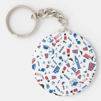 Porte-clés Icônes britanniques - motif de colourfull sur le
