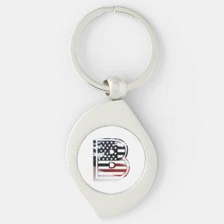Porte-clés Initiale américaine de drapeau du monogramme B