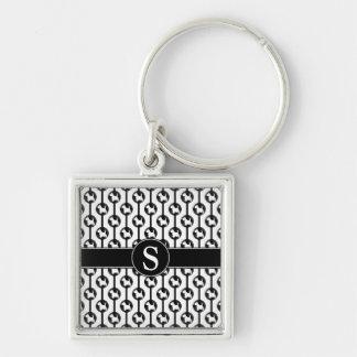 Porte-clés Initiale de monogramme de Polkadot de chien de