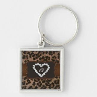 Porte-clés Initiale personnalisée de coeur de diamant