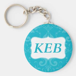 Porte-clés Initiales bleues de coutume de damassé de beaux