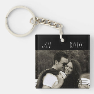 Porte-clés Initiales de date de photo de couples