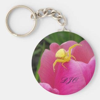 Porte-clés Initiales jaunes lumineuses de tulipe de rose