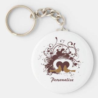Porte-clés Inséparables toscans de Brown avec le nom