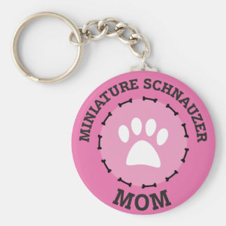 Porte-clés Insigne de maman de Schnauzer miniature de cercle