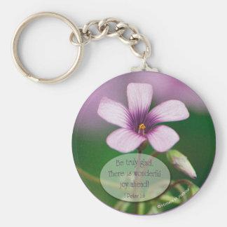 Porte-clés Inspiration - porte - clé rose d'oxalide blanche